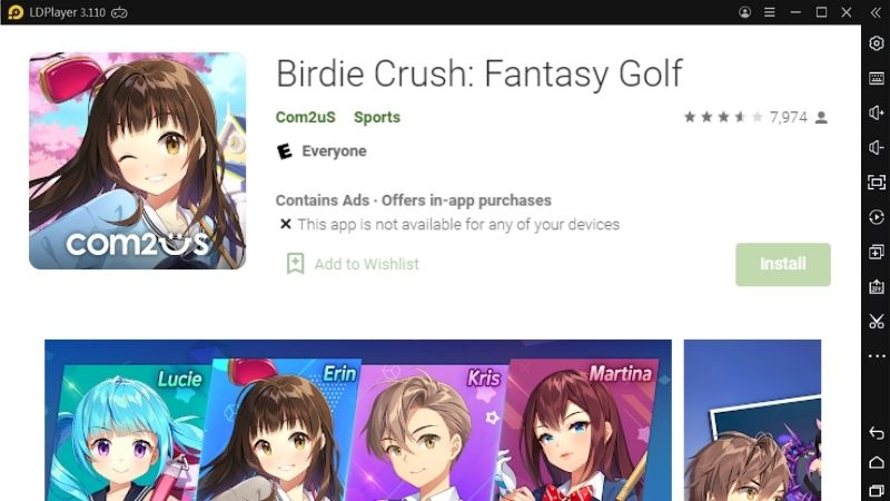 Howto Download and Play Birdie Crush: Fantasy Golf
