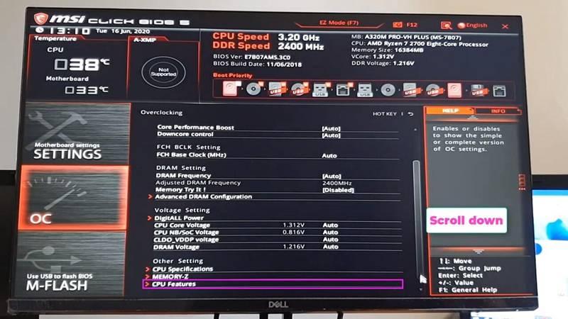 Aktifkan Teknologi Virtualisasi (VT) di komputer dan motherboard MSI