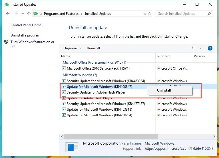 Copot pembaruan KB4100347 untuk Windows 10 sehingga meningkatkan kinerja CPU sebesar 10%