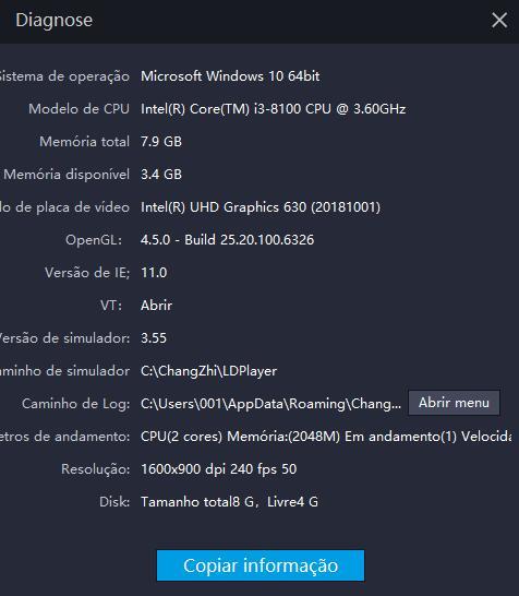 Como ver as configurações de PC no LDPlayer?