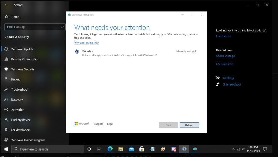 เมื่ออัพเกรดเวอร์ชันระบบ Windows 10 20H2 ระบบจะแจ้งว่าไม่รองรับ VirtualBox